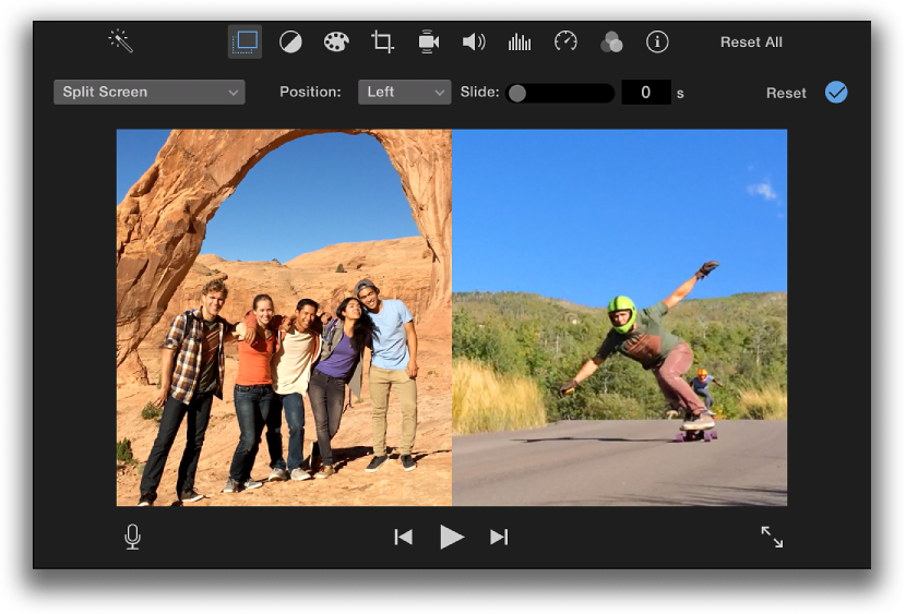 iMovie split screen effect